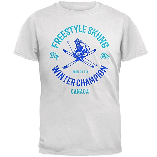 le Skiing Champion Canada Mens Soft T Shirt White MD ()