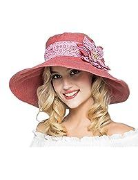 Elonglin Womens Wide Brim Beach Hat Sun Hat with Lace Flower Cap Anti-UV
