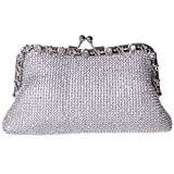 Fawziya Kisslock Purse Soft Rhinestone Crystal Clutch Evening Bag-Silver
