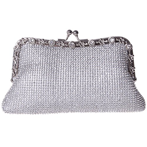 Price comparison product image Fawziya Kisslock Purse Soft Rhinestone Crystal Clutch Evening Bag-Silver