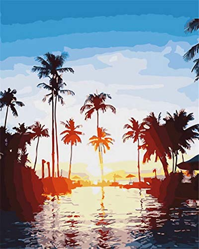 Paint by Number Acrylic Kit On Canvas for Adults Beginner -Tropical Palm Trees Sunset Ocean,16X20 - Tree Diamond Palm Tropical