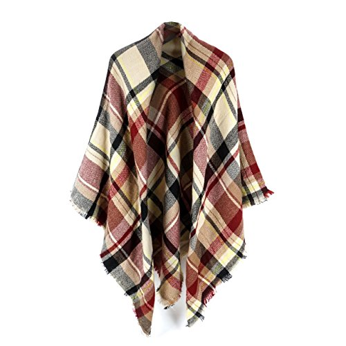 Women's Cozy Tartan Blanket Scarf Wrap Shawl Neck Stole Warm Plaid Checked Pashmina (purple Beige)