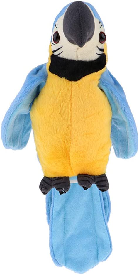 B Blesiya Juguete de Pájaro de Dibujos Animados Loro de Peluche Electrónico Reproducción de Sonido con Alas Batiendo Canciones Regalo para Niños - Azul + Amarillo