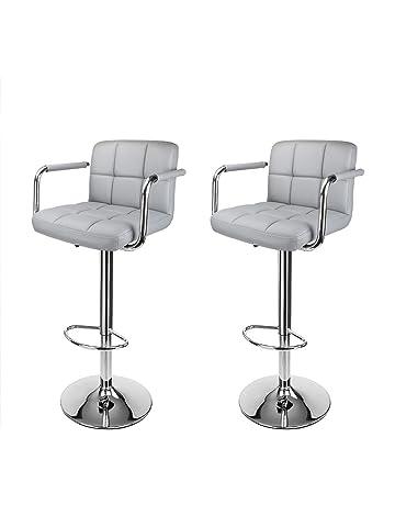 Display4top Taburetes de Bar, con Estructura cromada, sillas giratorias de 360 Grados, Acolchadas