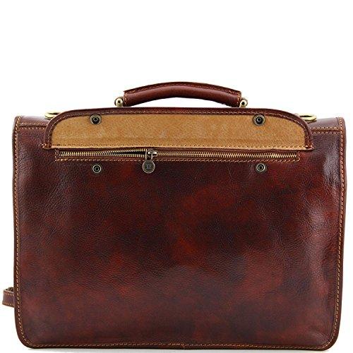 Folios Con 2 1 Porta Marrón Compartimentos Oscuro Leather Tuscany Siena Tl10054 Piel En CgSxqw