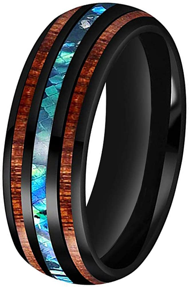 BestTungsten 6mm 8mm Silver/Black Tungsten Rings for Men Women Wedding Bands Koa Wood Abalone Shell Inlay Domed Plished Shiny Comfort Fit
