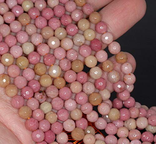 (6MM Rhodonite Gemstone Faceted Round Loose Beads 15