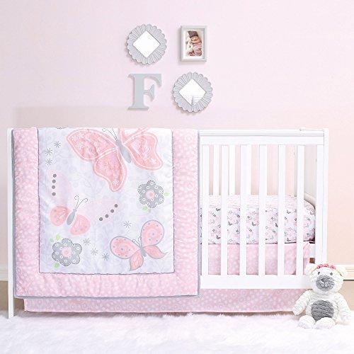 Mariposa 4 Piece Pink Butterfly & Garden Baby Girl Crib Bedding Set by Belle - Oval Crib Bedding Set