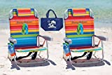 2 Tommy Bahama Backpack Beach Chairs (Multicolor Stripes +...