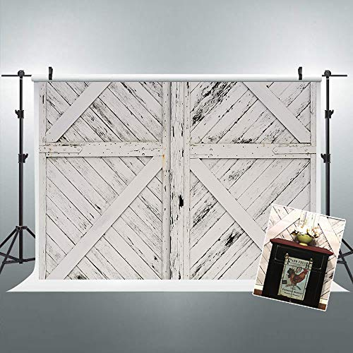Riyidecor Rustic Barn Door Backdrop Vintage Wooden Photography Background Shabby Chic White and Black 7x5 Feet Decoration Celebration Props Party Photo Shoot Backdrop Vinyl Cloth -