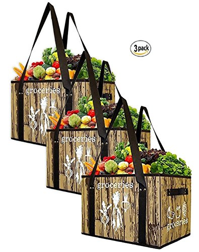 Earthwise Reusable Grocery Bag Set Deluxe Collapsible Shopping Box with Reinforced Bottom (Set of (Eco Green Reusable Shopper)