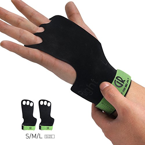 Leather Gymnastic Grips,Hand Gym Grips Designed to Protect Your Hands for Cross-Functional Fitness,Great for Cross Training, Pull-ups, weight lifting, Chin-ups, Training, Exercise (Black-L)