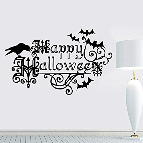 ElegantDecal Vinyl Wall Lettering Stickers Quotes And Saying Happy Halloween For Halloween Decorations Casual Rooms Crow Kids Personality Halloween Party Bats Nursery Personality -