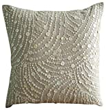 "Handmade Ecru Pillow Shams, Mother Of Pearls Pillow Shams, 24""x24"" Pillow Shams, Square Cotton Linen Shams, - Dreams N Pearls"
