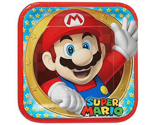 Amscan Swank Super Mario Brothers Birthday Party Square Lunch Paper Plates Tableware (8 Pack), 9