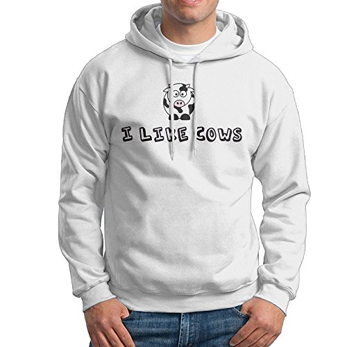 Obachi Like Cows Men's Long Sleeve Pullover Hooded Sweatshirt White Size L ()