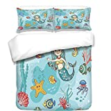 iPrint Duvet Cover Set,Hamsa,Eastern Culture Belief Turkish Spiritual Symbol in Retro Arabian Style,Blue Light Blue Purple,Best Bedding Gifts for Family Or Friends