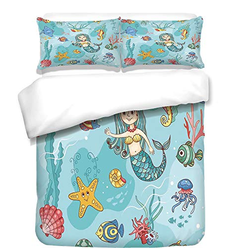 iPrint Duvet Cover Set,Hamsa,Eastern Culture Belief Turkish Spiritual Symbol in Retro Arabian Style,Blue Light Blue Purple,Best Bedding Gifts for Family Or Friends by iPrint