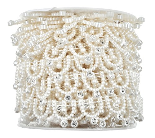 Mandala Crafts Beaded Faux Pearl Trim, Applique Lace Ribbon, Rhinestone Wrap Roll for Sewing, Cakes, Weddings, Bouquets, Clothing (0.75 Inch, 10 Yards, Flat Back, Ivory)