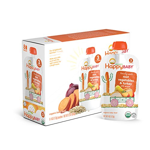 Happy Baby Organic Stage 3 Baby Food Hearty Meals Root Vegetables & Turkey w/ Quinoa, 4 Ounce Pouch (Pack of 16) Baby Food Pouches, 2g Fiber, Rich in Vitamin A, Non-GMO Gluten Free No Added Sugars (Best Baby Food For Adults)
