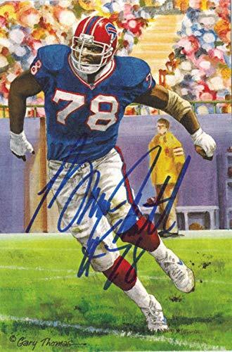 Bruce Smith Autographed Buffalo Bills Goal Line Art Card blue Bruce Smith Autographed Buffalo Bills