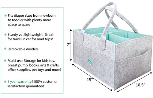 Baby Diaper Caddy Organizer - Baby Shower Gift Basket for Boys Girls | Large Nursery Changing Table Storage Bin | Kid Travel Portable Car Organizer | Infant Newborn Registry Must Haves - Leather