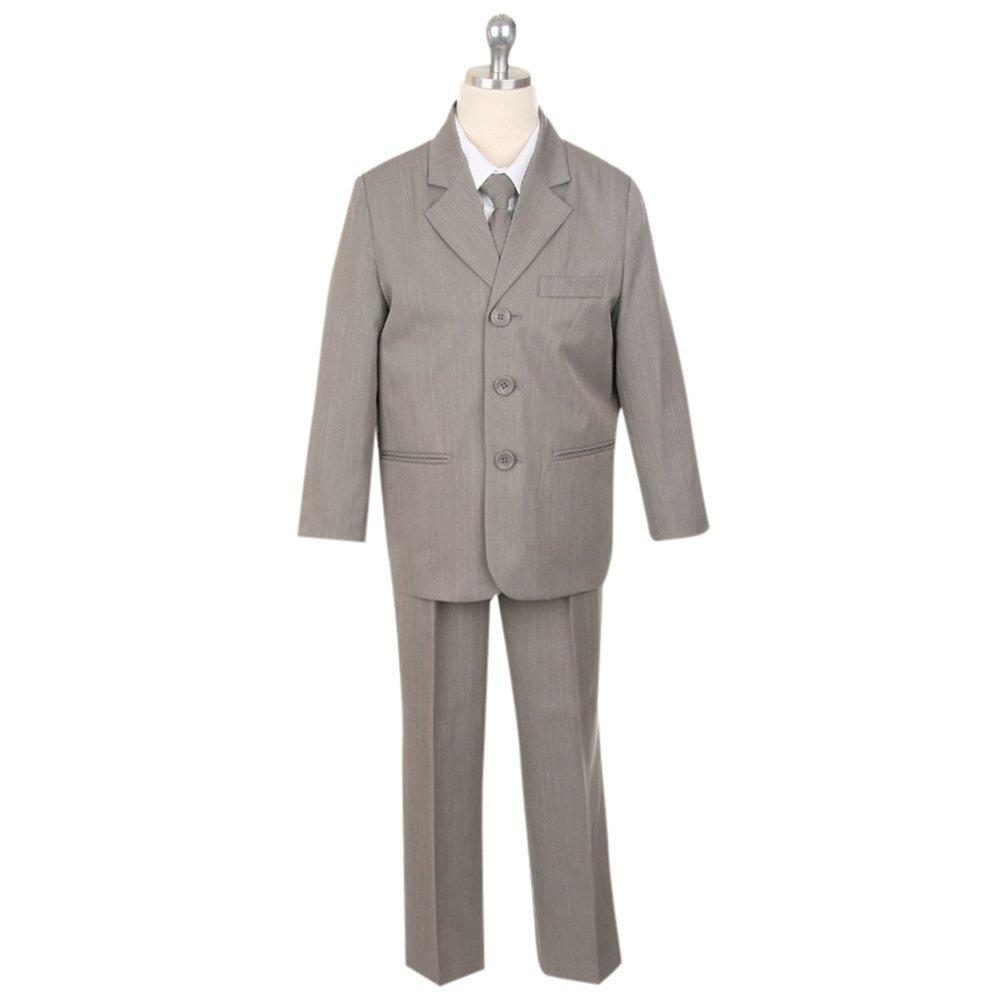 HBDesign Boys'3 Piece 3 Button Slim Trim Fit Casual Suite Soil Grey