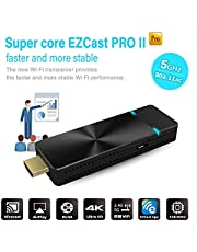 EZCast PRO II Dongle | 5G WiFi Wireless Presentation Streaming Airplay Miracast 4K Stick High Speed MIMO 2T2R WiFi HDMI, Supports 4 to 1 Split Screens