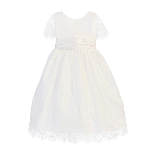 1ff2ee97910 Amazon.com  Sweet Kids Little Girls White French Lace Dupioni Flower ...
