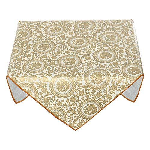 uxcell Oil Stain Water Resistant Vinyl Plastic Tablecloth Square 24 inches x 24 inches for Wedding/Restaurant/Parties Tablecloth Gold Tone Flower Printed