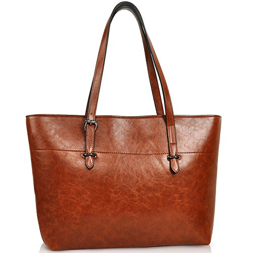Jewelry Tote (Tote Bag for Women, Vegan Leather Handbags with Large Capacity,Concise Shoulder Bag by YAAMUU (4.brown))