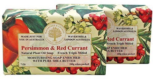 Wavertree & London Persimmon Red Currant (2 bars) - Triple-milled (twice) Shea Butter soap bar - Rich & Creamy Lather