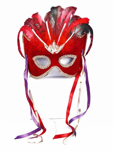 Half Man Half Woman Costume (Forum Novelties Women's Karneval Style Female Half Mask with Feathers, Red/Gold, One Size)