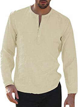 Camisa para Hombre Lino Blusa Casual de Manga Top Sin Cuello