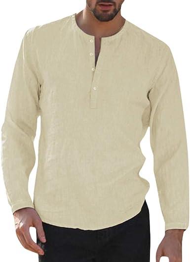 TUDUZ Camisetas Hombre Manga Larga Algodón Y Lino Camisas Botón ...