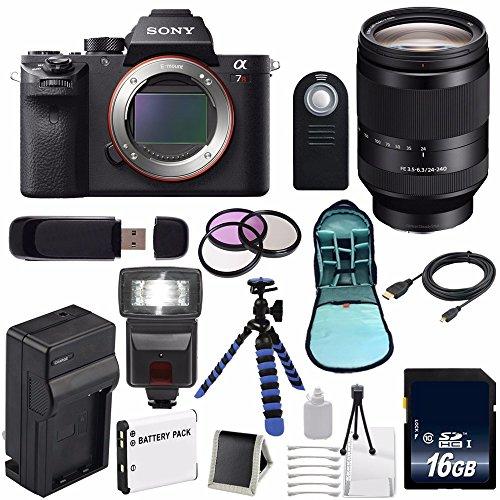 Sony Alpha a7R II Mirrorless Digital Camera, FE 24-240mm f/3.5-6.3 OSS Lens Bundle with Accessories (16-Items) (International Model)