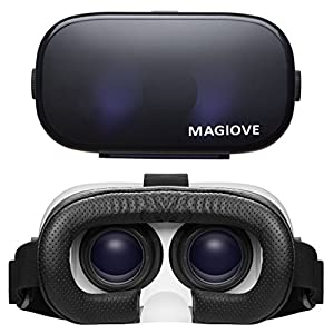 MAGIOVE 3D VR Glasses Virtual Reality Headset Mobile Phone 3D Movies for iPhone + Stereo Headphone by MAGIOVE