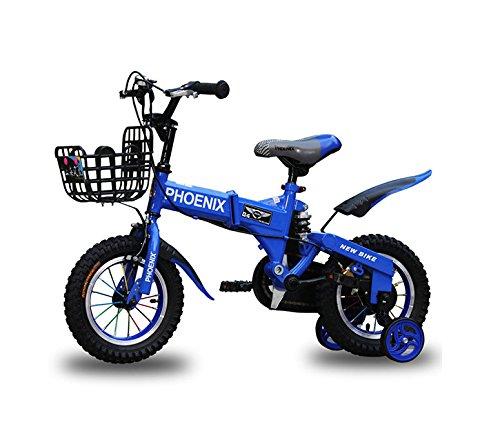 GETTEER ★2018★折りたたみ 子ども用自転車 高品質 折りたたみ自転車 子供用 補助輪付き 格好いい 簡単組み立て式 収納便利 B07DMYB6H4 14インチ|ブルー ブルー 14インチ