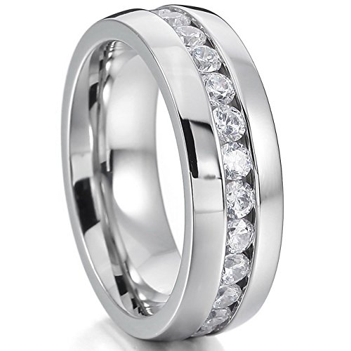 MOWOM Silver Tone Wide 8mm Stainless Steel Eternity Ring Band CZ Wedding Size 9