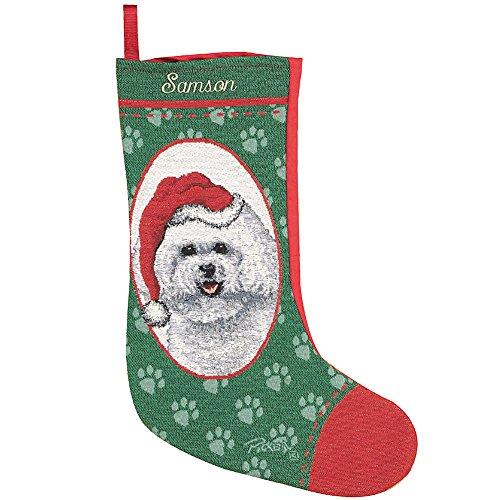 Personalized Bichon Frise Christmas Holiday Stocking - Santa's Pet Custom Dog Name