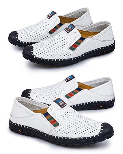 para Stutio Cuero de Casual Moda Conducción Zapatillas Blanco Zapatos On Loafers Hombre Planos de SK Mocasines Slip nIdSqIt