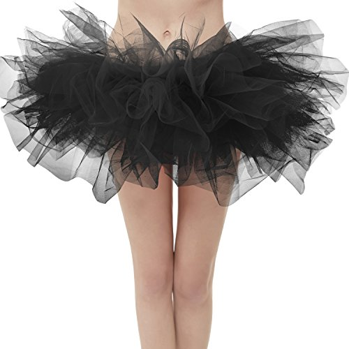 (Dresstore Women's Vintage 5 Layered Tulle Tutu Puffy Ballet Bubble Skirt Black Regular)