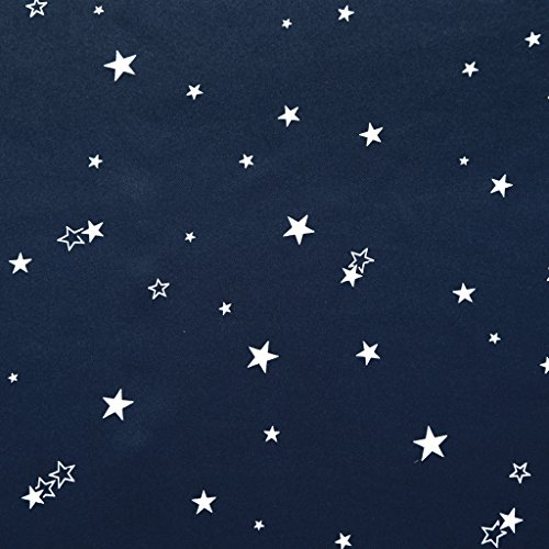 100% Blackout Curtain Thermal Insulated Navy Stars Kids Room Curtain Panels Antique Grommet Window Treatments for Short Window, W40 x L63 inch -1 Panel