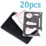 Cheap TTOBS 11 in 1 Credit Card Wallet Knife Stainless Steel Survival Utility Perfect Tool for Bug Out Bag Camping Fishing Include Knife Saw Bottle Opener Head Screwdriver 4 Position Wrench and More(20PCS)