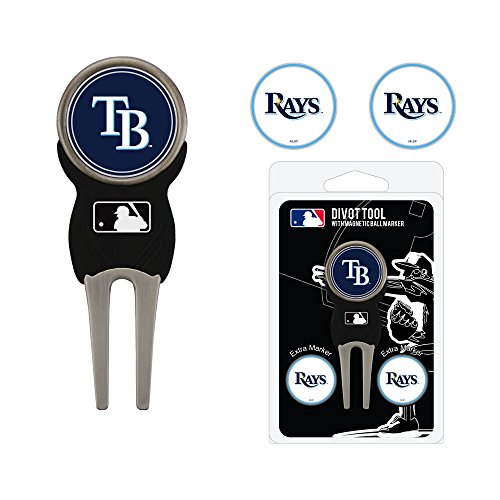 Team Golf MLB Tampa Bay Rays Divot Tool with 3 Golf Ball Markers Pack, Markers are Removable Magnetic Double-Sided Enamel (Devil Rays Baseball Team)