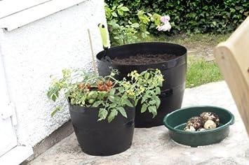 Whitefurze G0834BL Pot de fleurs rond Noir 34/cm