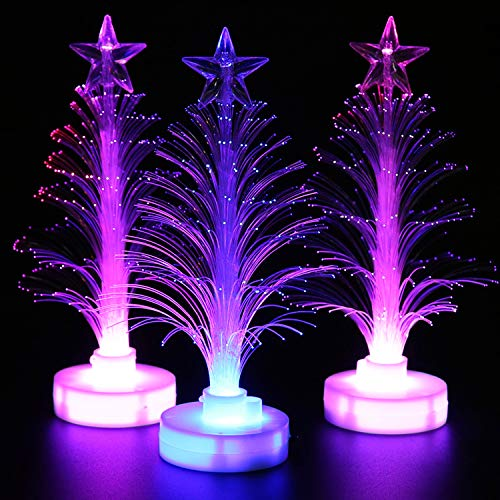 Lvydec Christmas Tree LED Night Light, 3 Pack Fiber Optic Decorative Xmas Tree Light Color Changing Table Lamp for Home Party Christmas Decor