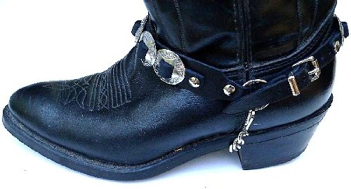 """Western Boots Boot Chains: """"The Concho Honcho"""" Black Leather with 8 Conchos"""