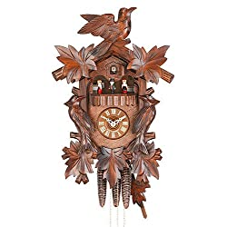 German Cuckoo Clock 1-day-movement Carved-Style 16.00 inch - Authentic black forest cuckoo clock by Hekas