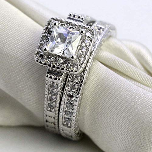 7a8f6c97ec LOVERSRING Couple Ring Bridal Set His Hers Women 10k White Gold Filled AAA Cz  Men Stainless